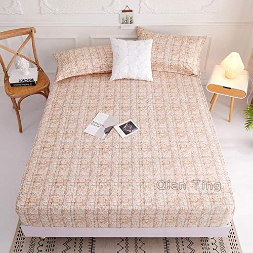 UKUCI 2020 New Product1pcs 100% Polyester Printed Fitted Sheet Mattress Cover Four Corners With Elastic Band Bed Sheet(no pillowcases),huangselantiao,140cmX200cm25cm