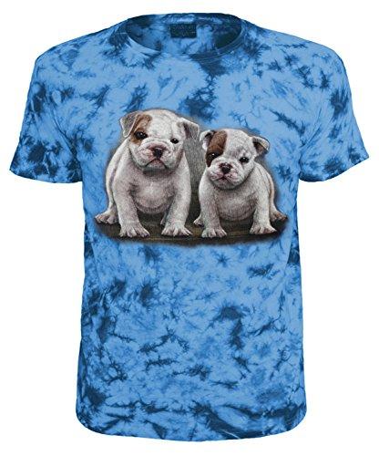 Kinder T-Shirt Tiermotiv Bulldoggen Blau Batik Größe 140