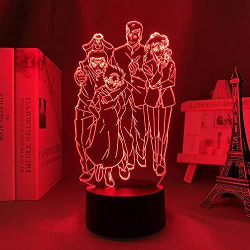 Anime Yu Yu Hakusho llevó la luz para la decoración del dormitorio luz de la noche niños regalo de cumpleaños manga Yu Yu Hakusho lámpara 3D cabecera