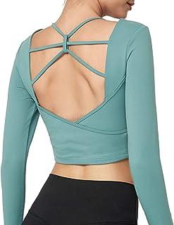 Inlefen Women's Sports Tops Sports Shirts Long Sleeve Sweatshirts Shockproof Chest Cotton Running Yoga Tops Sportwear