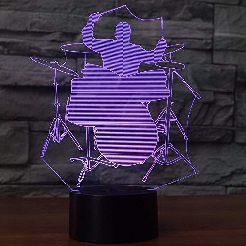 3D Tischlampe LED Nachtlicht Schlagzeuger Form mehrfarbige Acryl Home Dekoration Musikinstrument Geschenk