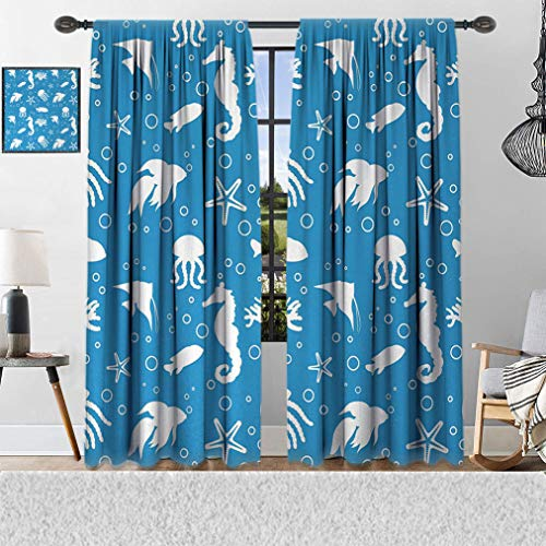 """Animal Room Darking Curtain, Mix of Seahorses Pipefishes and Others Swimming Diving Deep Zone Summertime Window Coverings 2 Panels Set, 84"""" W x 96"""" L Turquoise White"""
