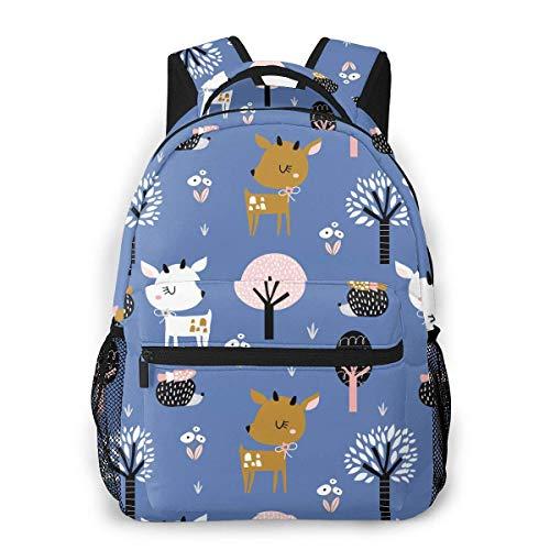 shenguang Cute Deer Hedgehog Mochila de Viaje Ligera Mochila Escolar Informal para Mujeres y Adolescentes Regalo