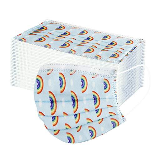 Wossei 50 Stück Kinder Mundschutz Einweg 3-lagig Atmungsaktiv Face Cover, Kinder Accessory Schutz, Outdoor Anti-Staub Bandana Loop (Regenbogen, 50PCS)