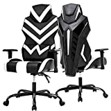 PC Gaming Chair Ergonomic Office Chair Desk Chair High Back Racing Computer Chair with Lumbar Support Adjustable Arms Headrest Task Executive Swivel Rolling Chair for Adults Girls,White