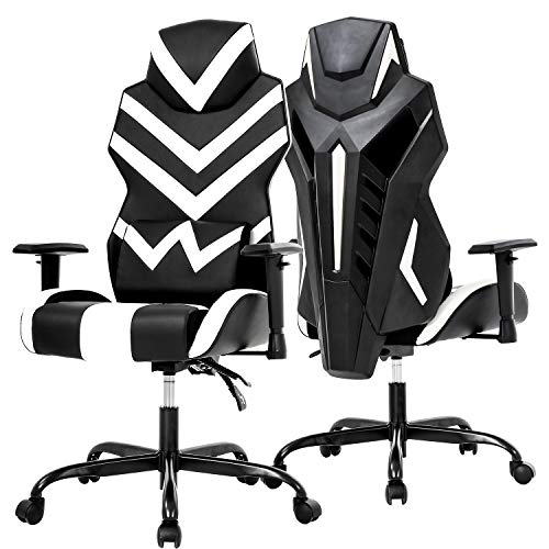 PC Gaming Chair Ergonomic Office Chair Desk Chair High Back Racing Task Swivel Rolling Computer Chair with Lumbar Support Adjustable Arms Headrest Executive Chair for Adults Girls,White chair gaming white