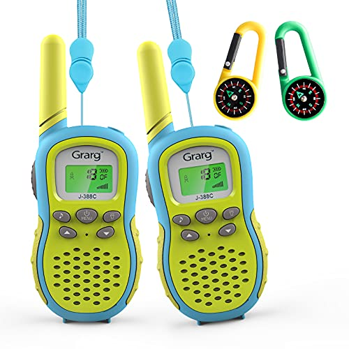 Grarg Walkie Talkie Kinder, Spielzeug für 3-12 Jahre Junge,3KM Reichweite Funkgerät 16 Kanäle mit VOX Taschenlampe LCD Display Kinder Camping,Einkaufen,Freizeitpark,Zelten,Indoor