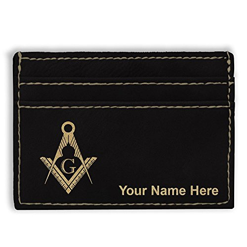 Money Clip Wallet, Freemason Symbol, Personalized Engraving Included (Black)