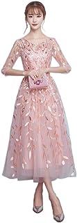 スパンコールドレス ピンク パーティドレス 2017 ファッションドレス 半袖 花嫁 二次会 ウェ ディングドレス ひざ 丈 ブライダルドレス二次会披露宴ドレス レディース ドレス ファスナー タイプ