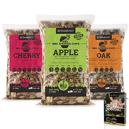 ROSMARINO BBQ Smoking Wood Chips 3 Pack - 100% Natural Hardwood Chips in Mild Cherry, Oak & Apple Flavour - Free Recipe Ebook BBQ Smokers Journal Included