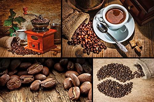 GREAT ART Fototapete Kaffee Collage 210 x 140 cm – Wanddeko Kaffeebohnen Kaffeemühle Bilder Kaffeetasse Wandbild Küche Café Dekor Wandtapete – 5 Teile Tapete inklusive Kleister