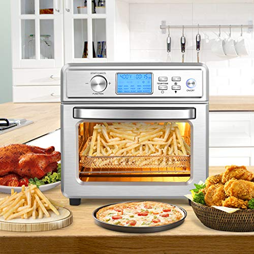 Air Fryer Oven 21QT20L Air Fryer Toaster Oven Combo for Large Family 1700W Airfryer Convection Oven with LED Display TemperatureTime Dial 16 in 1 Air Fryer Oven Oil Less Stainless Steel For Bake Pizza Defrost Broil and Food Dehydrator