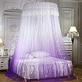GLXQIJ GroßE Romantische Farbverlauf Kuppel Moskitonetz Vorhang Prinzessin Bett Baldachin Spitze Runde Zelt BettwäSche, Mit Lichterkette,Purple