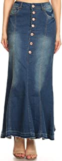 GoModest Women's Vintage Maxi Skirt | Casual Denim Jean Skirt, Plus Size Option