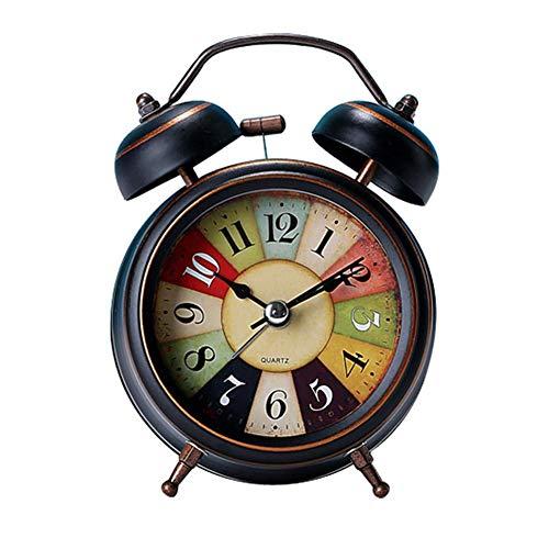 Demarkt Despertador de Doble Campana luz Nocturna, analógico, de Cuarzo, sin Ruido, sin Tic-TAC, Alarma silenciosa, Funciona con Pilas, Reloj de Mesa, Estudio, Dormitorio, decoración