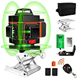 ATOLS 16 Lines Laser Level, 4d Laser Level 360 Self Leveling, Green Laser Level Horizontal Vertical with 2 Rechargeable Battery 4000mAh & Remote Controller for Picture Hanging and Construction