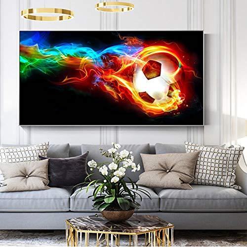 N / A Modernes Regenbogenplakat mit Fußball in Flammen und abstrakten Fußballwandgemälden auf bedruckter Leinwand für rahmenloses Malen im Wohnzimmer 30 cm x 60 cm