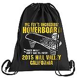T-Shirt People Hoverboard California borsa sportiva – Sacchetto stampato – Una bella borsa sportiva con cordino futuro Flux Delorean DMC, Adulti (unisex), Nero, Taglia unica