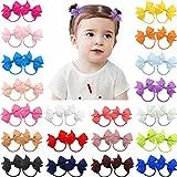 40pcs 2 Zoll Baby Mädchen Haarschleifen Haargummis Kleine Haarspangen Grosgrain Band Haarband Pferdeschwanzhalter für Kleinkinder Kleinkinder Kinder