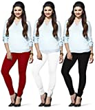 LUX LYRA Women's Cotton Indian Leggings (Parry Red, White, Black, Free Size) - Pack of 3