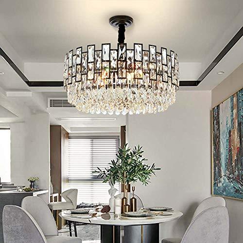 CHENJUNAMZ Postmodern - Lámpara de araña de cristal negro minimalista redonda LED para el hogar, iluminación interior, diámetro 46 cm, 60 cm (tamaño: 60 cm)