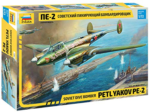 """Zvezda 7283 - Soviet Dive Bomber Petlyakov PE-2 - Plastic Model Kit Scale 1/400 Lenght 62 cm / 24.5"""" 349 Parts"""