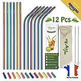 Very'tea - Set 12 Pailles INOX Certifiées NF [Arc-en-Ciel] + Embouts Silicone - Kit Paille Réutilisable...