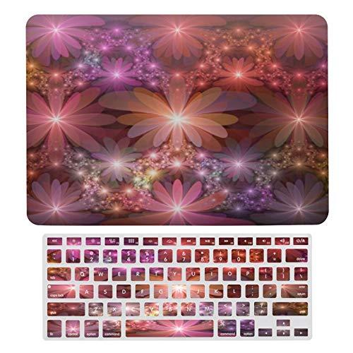 Carcasa rígida para MacBook Bed of Flowers Colorido con patrón abstracto fractal de plástico y cubierta para teclado solo compatible con MacBook Air 13 (modelos: A1369 y A1466)