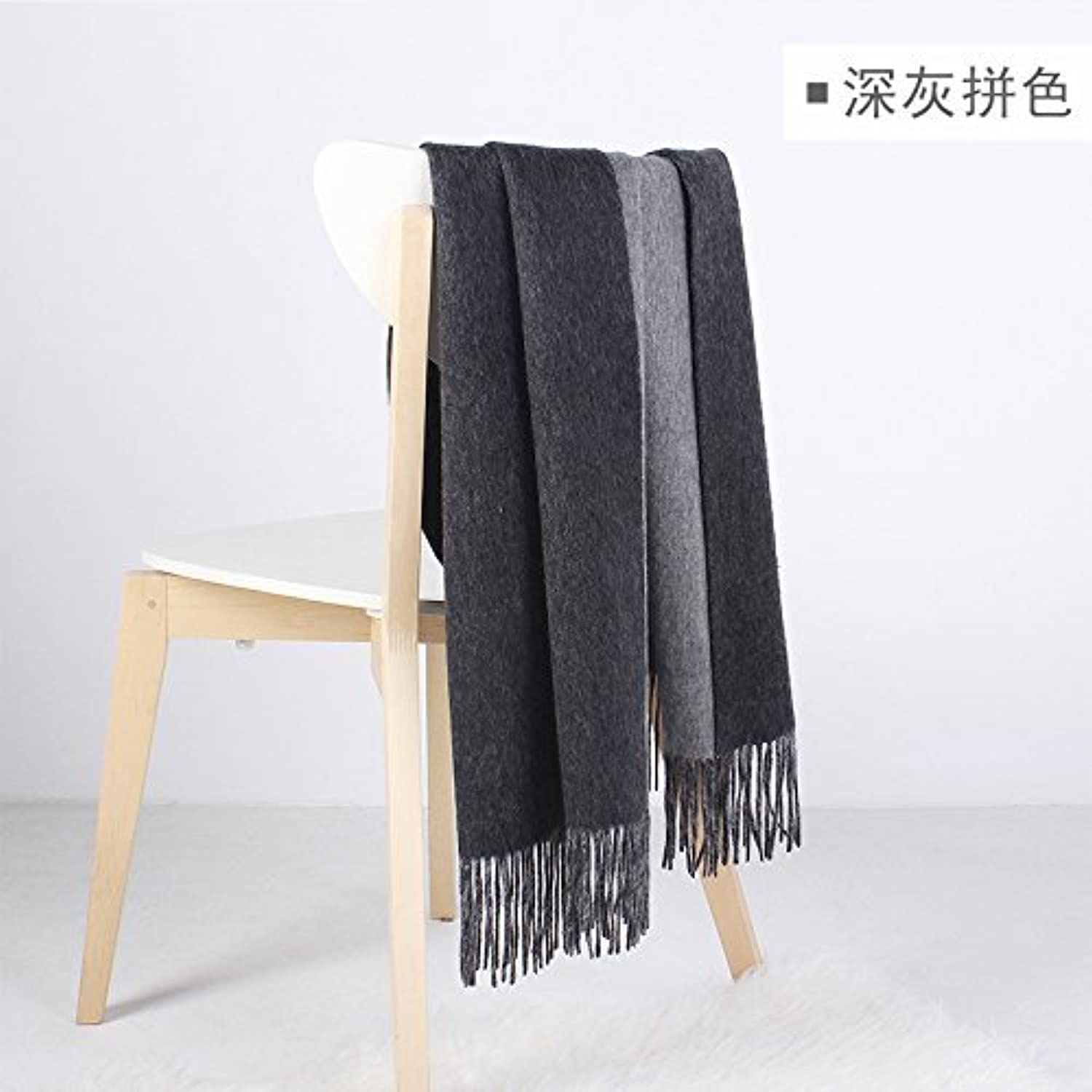 DIDIDD Scarfwarm and heavy woolen shawl ladies and men winter scarf