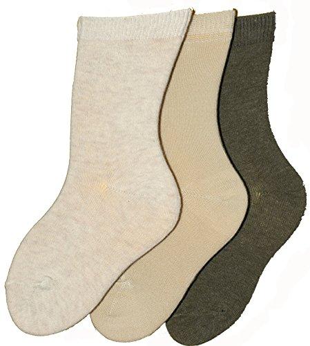 Shimasocks Kinder Socken 98prozent Baumwolle uni 3er Pack, Farben alle:ecru/beige/oliv, Größe:23/26