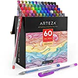 Arteza - bolígrafos de gel, 60 colores individuales, sin ácido ni productos tóxicos (puntas de 0,8–1,0mm, conjunto de 60 bolígrafos)