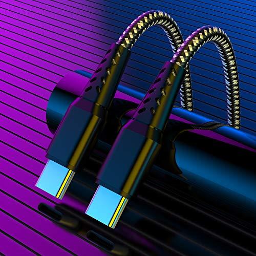 3M Cable USB C a USB C Tipo PD Carga Rapida 20V 3A 60W Cargador, Cable Tipo C de NailonTrenzado PowerDelivery para Mac Book,Mac Book Pro,Pad Pro 2020/201,Galaxy S20/S10 y laptops tipo C