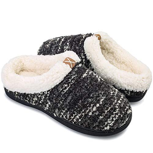 OUSIMEN Hausschuhe Herren Damen Memory Foam Pantoffeln Bequemer Clog,8 Schwarz Weiß,40/41 EU (CN 39/40)