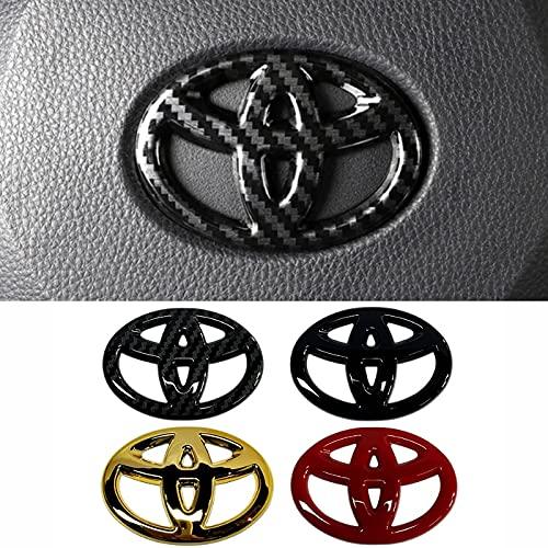 NICOLIE Accesorios Adhesivos para Volante De Coche Compatibles con Toyota Corolla Camry Rav4 Yaris Auris Avensis Prius Prado - Fibra de Carbon