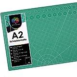 OfficeTree Estera para Corte A2-60x45 cm verde - Cuadrícula y marcas en ambos lados para un corte profesional - PVC reciblable con 5 capas superpuesta