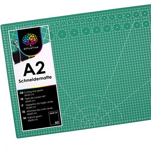 OfficeTree Schneidematte A2 selbstheilend - Grün - Schneidmatte 60 x 45 selbstheilend - Cutting Mat mit beidseitigen Rastern und Markierungen für professionelle Schnitte