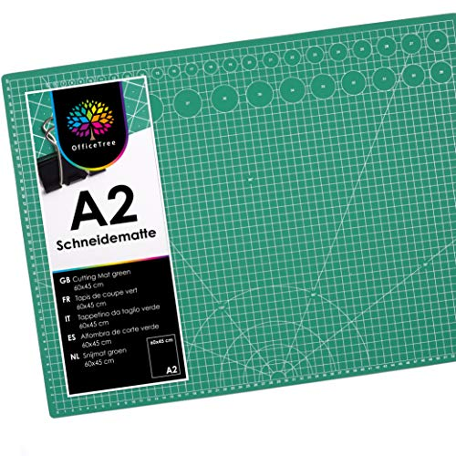 OfficeTree Base de Corte A2 Verde - Tabla de Corte Patchwork 60x45 cm - Alfombrilla de Corte A2 - para Patchwork Costura y Manualidades