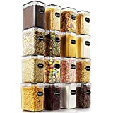 Airtight Food Storage Containers - Wildone Cereal & Dry Food Storage Container Set of 16 [1.6L /1.5qt] for Sugar, Flour and Baking Supplies, Leak-proof & BPA Free, with 20 Labels & 1 Marker