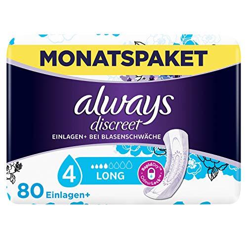 Always Discreet Inkontinenz-Einlagen+ Long Spar-Paket bei Blasenschwäche, 80 Einlagen (4 Packungen x 20 Stück)