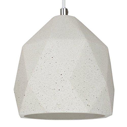 Beton-Lampe Beton-Leuchte LED E27 Pendel-Lampe Hänge-Leuchte BOSTON (Farbe: Beton-Hell) Vintage Industrieleuchte Wohnzimmerlampe Modern Betonfassung mit Textilkabel - Ohne Leuchtmittel