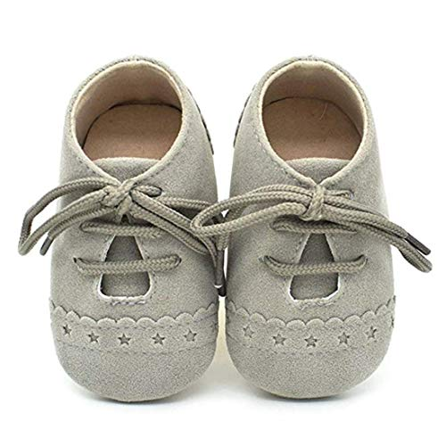Dukars Baby Boys Girls Soft Sole Moccasins Lace-up Infant Toddler Shoes Sneaker (11cm (0-6months), Gray)