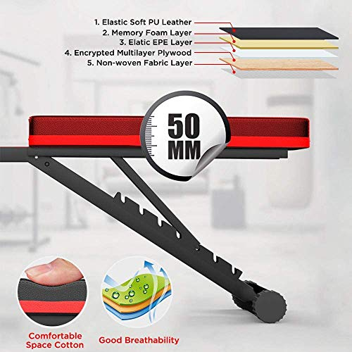 Dripex Adjustable Folding Weight Bench (2020 Upgraded Version), 330lbs Capacity Decline Incline Bench Press Workout Bench for Strength Training Home Gym