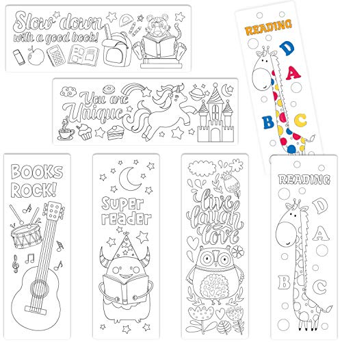 Yoklili Color Your Own Bookmarks, 24-Pack Animal Music Theme DIY Coloring Bookmarks for Kids Teachers Students, Perfect Gift Idea, 2 x 6 Inches