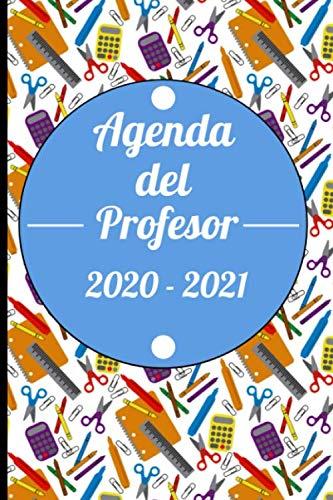 Agenda del Profesor 2020 - 2021: Diseño Elegante Azul con material escolar de fondo Para Maestros - agenda escolar de 300 páginas en pequeño formato ... tareas, lista asistencia, evaluaciones,