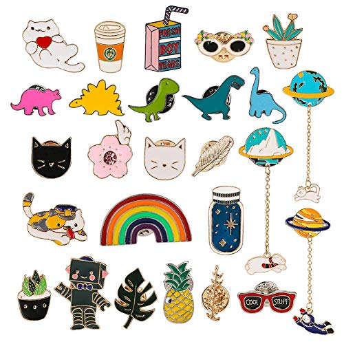 Tagaremuser 26 Pieces Cute Brooch Pins Cartoon Enamel Pins Set Brooch Lapel Badges for DIY Clothing Sweater Shirt Jacket Backpack Hat