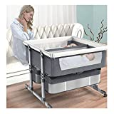 JIAX Room 2 Twin Nursery Center, Twin Bassinet Accessory for Playard, Infant Bed Sleeper with Parents, Adjustable Height, Mute Universal Wheel,Baby Bassinets with Storage Basket (Color : Grey)