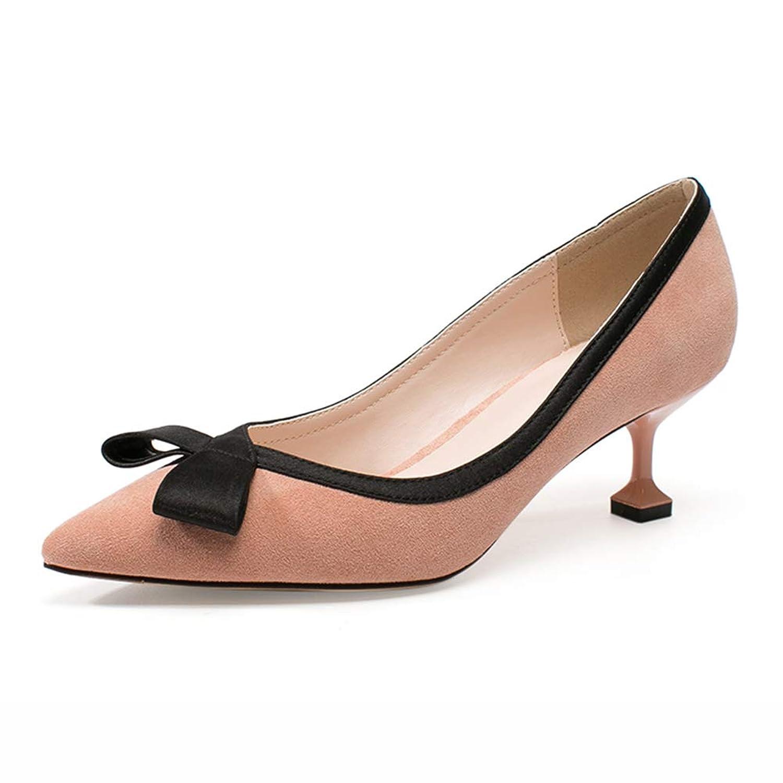 HWF レディースシューズ 単一の靴浅い口女性の靴ファインハイヒールファッションボウノット結婚式の靴、ヒールの高さ5.3cm (色 : Pink, サイズ さいず : 39)