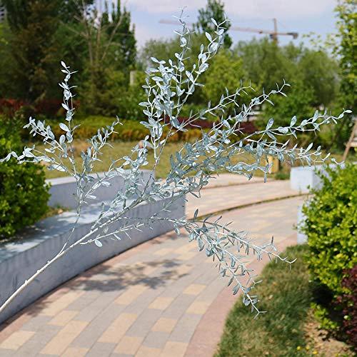 YYCVVH Trockenblumen strauß 3 Gabel hoher AST Mailänder Gras Home Birthday Party Garten Hotel Büro Dekoration DIY Blumenarrangements 5 Stöcke-Grau-Blau