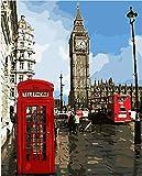 Paint By Numbers Kits Cabina TelefóNica De La Ciudad De Londres DIY Cuadro al óleo con números de Lienzo,Kit de Pintura al óleo Digitalcon Pinceles y Acrílica Pinturas para niños,40x50cm