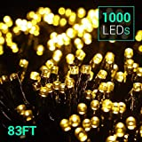 Quntis 83Ft 1000 LEDs String Lights - Outdoor & Indoor Waterproof Christmas Decoration Lights 8 Modes Holiday Twinkle Fairy Lights for Home Garden Wedding Party Xmas Tree, UL588 Approved